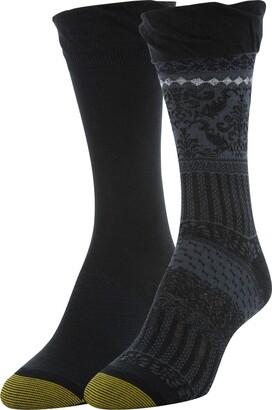 Gold Toe Women's Little Black Santiago & Flat Knit Crew Socks 2 Pairs