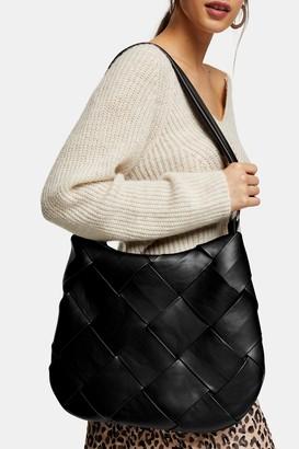Topshop Womens Black Woven Hobo Bag - Black