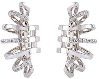 Dauphin Diamond 18k white gold cage clip earrings