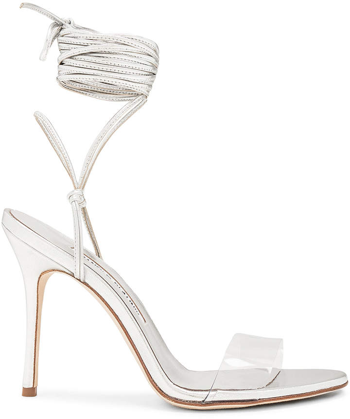 Manolo Blahnik Priscestro 105 Heel in Silver & Clear | FWRD