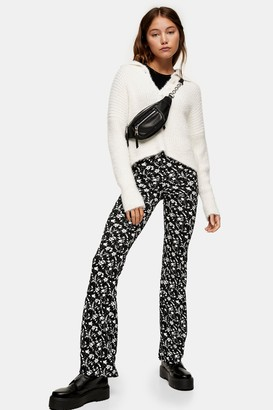 Topshop Womens Black And White Floral Print Flare Trousers - Monochrome