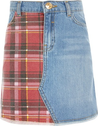 River Island Girls Blue tartan check denim skirt