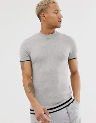Bershka knitted t-shirt in with stripes in light gray