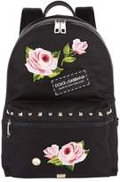 Dolce & Gabbana Rose Embroidered Backpack, White