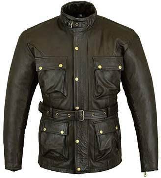 Bikers Gear Australia Trailmaster Classic Vintage Style Motorcycle Waxed Age Treated Leather Jacket Large