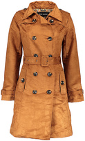 Steve Madden Cognac Faux-Suede Double-Breasted Trench Coat