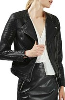 Topshop Women's Nelly Faux Leather Biker Jacket