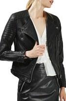 Topshop Women's Nelly Faux Leather Biker Jacket