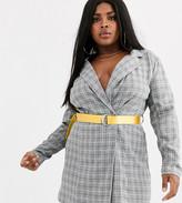 Lasula Plus blazer dress with contrast yellow belt in grey check