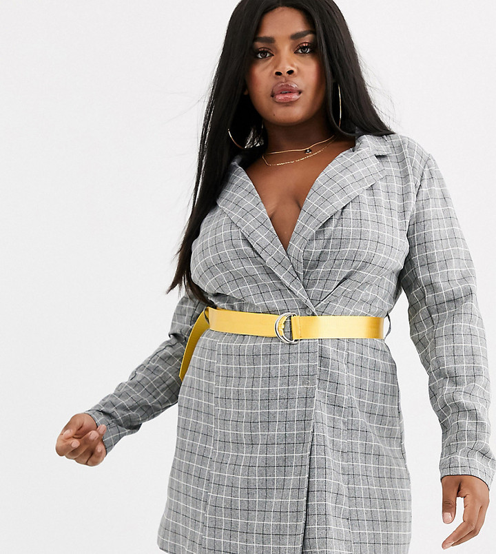 Lasula Plus blazer dress with contrast yellow belt in grey check-Multi