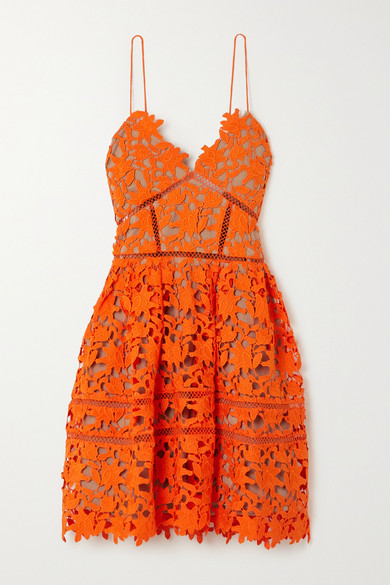 Self-Portrait Azaelea Neon Guipure Lace Mini Dress - Orange