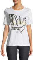 Escada Love, Live, Laugh Crewneck Short-Sleeve Cotton Tee