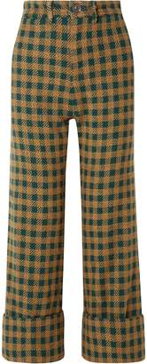 Sea Ethno Pop Checked Wool-blend Straight-leg Pants