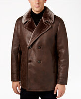 Tasso Elba Men's Double-Breasted Coat with Faux Fur Collar and Lining, Only at Macy's
