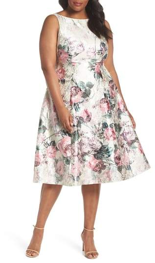 Adrianna Papell Print Jacquard Tea Length Dress