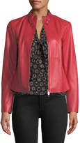 Emporio Armani Rosso Zip-Front Leather Jacket