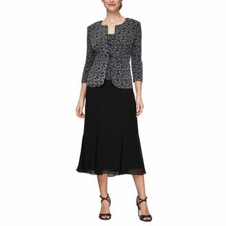 Alex Evenings Women's Tea Length Mock Dress with Sequin Jacket Regular Sizes