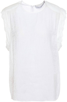 IRO Caonac Lace-trimmed Satin-jacquard Top