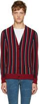 Saint Laurent Tricolor Striped Cardigan