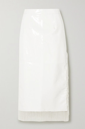 ROWEN ROSE Faux Pearl-embellished Vinyl Midi Skirt - White