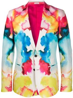 Alexander McQueen Watercolour single-breasted blazer