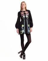 Cynthia Rowley Rainbow Leather Applique Bell Sleeve Dress