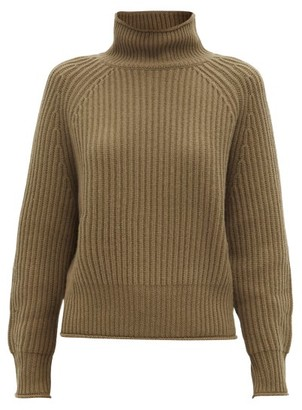 Allude Roll-neck Ribbed Cashmere Sweater - Khaki
