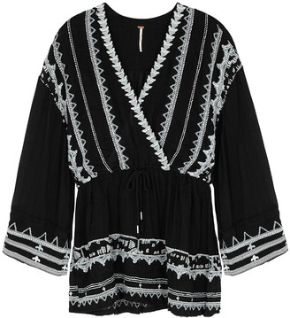 Free People Saffron black embroidered gauze top