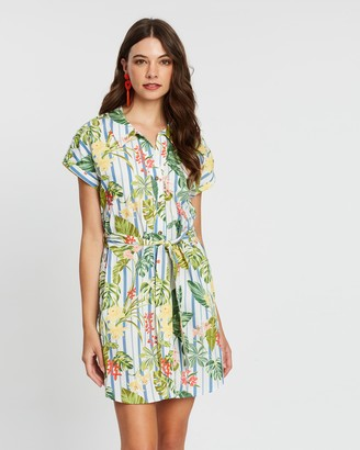 Mng Printed Short Sleeve Shirt Dress