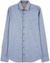 Boss Eslime Blue Cotton Jacquard Shirt
