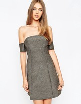 Asos Glitter Bardot A-Line Mini Dress