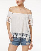 Roxy Juniors' Crochet-Trim Textured Off-The-Shoulder Top