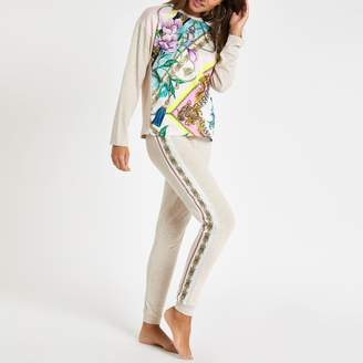 River Island Womens Beige floral print pyjama joggers