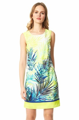 Roman Originals Women Tropical Print Shift Dress - Ladies Spring Summer Holiday Cruise Lightweight Leaf Printed Round Neck Sleeveless Up and Down Comfortable Day Dresses - Turquoise - Size 18
