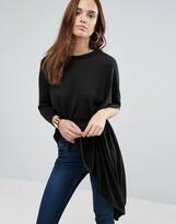 Wal G Tie Waist Asymmetric Sweater