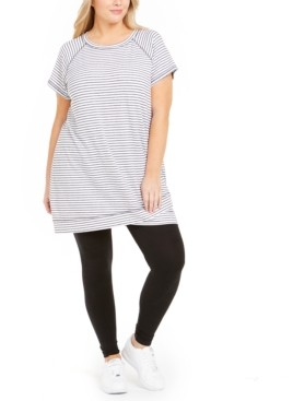 Ideology Plus Size Striped Crossover-Hem Tunic, Created for Macy's