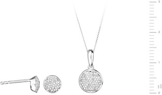 Love Diamond 9ct White Gold 20pt Total Diamond Round Pave Stud Earrings and Pendant Set