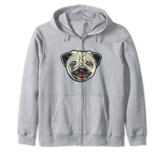 Breed Funny Cute Smiling Pug Face Vintage Dog Sketch Graphic Zip Hoodie