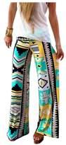 ARJOSA Women's Geometric Floral Prints Stretchy Wide Leg Lounge Yoga Pants (S, Blue Green)
