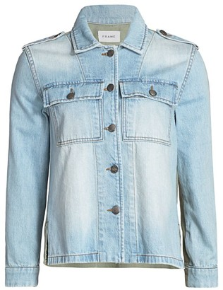 Frame Cargo Mixed-Media Denim Shirt