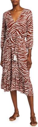 Veronica Beard Mallory Printed Tie-Waist Coverup Dress