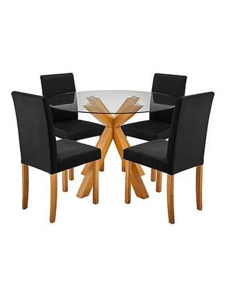 Marisota Albany Table with 4 Mia Velvet Chairs