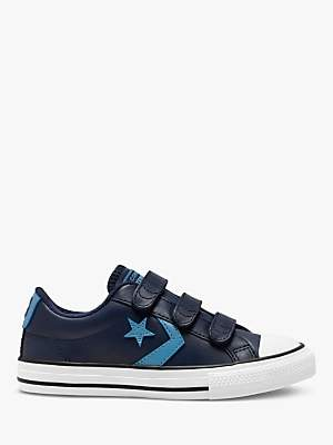 Converse Children's All Star 3V Leather Low-Top Riptape Trainers, Navy/Optical White
