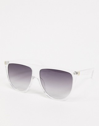 SVNX sunglasses in clear with smoke lens