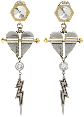 Prada Silver and Gold Hearts Earrings