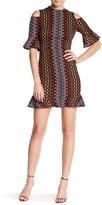 ABS by Allen Schwartz Cold Shoulder Geo Print Midi Dress