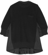 Sacai Paneled Cotton-poplin And Ribbed-knit Top - Black