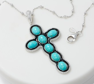 Turquoise & Enamel Cross Enhancer with Chain Sterling Silver