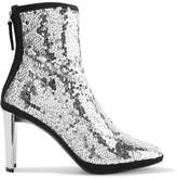 Giuseppe Zanotti Luce Suede-trimmed Sequined Tulle Ankle Boots - Silver