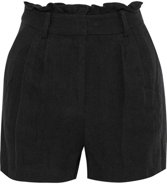 Frame Gathered Linen-twill Shorts